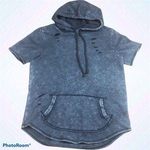 Hollister Distressed Short Sleeve Sweatshirt Hood